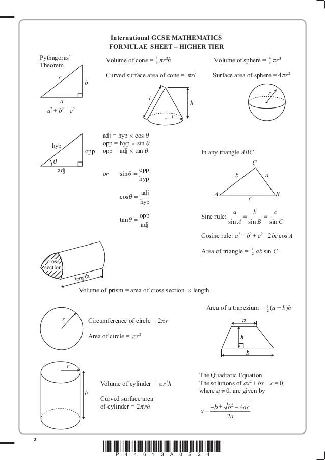 Edexcel Gcse Mathematics A Higher Tier 1ma0 1h 6th
