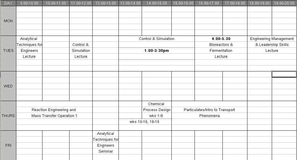 blank study timetable