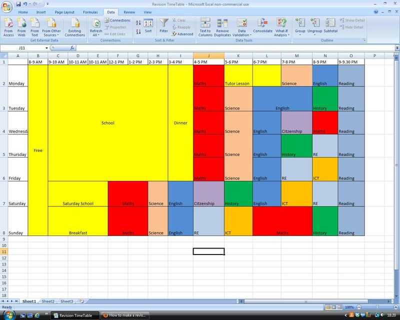 The Student Room Revision Timetable