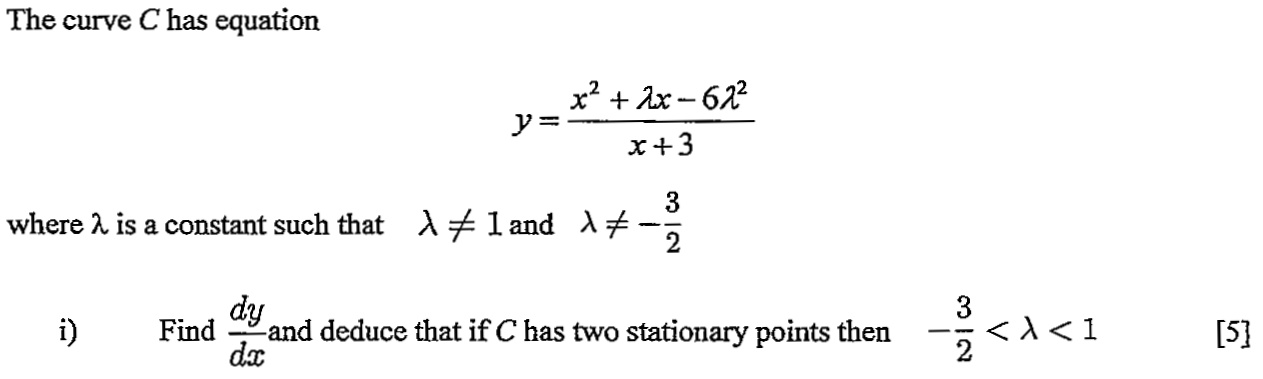 Name:  Stationary point question.jpg Views: 297 Size:  44.5 KB
