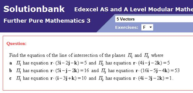 Edexcel FP3 - line of intersection of two planes - The