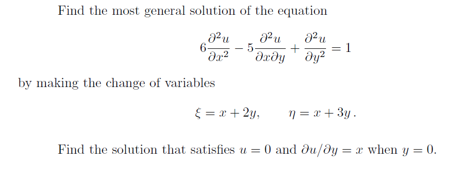 Partial Differential Equation - Change of Variables - The