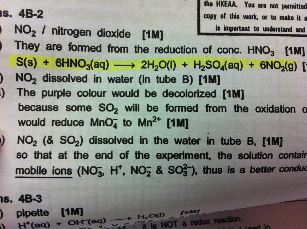 Reaction Of Sulphur With Con Nitric Acid Help The Student Room