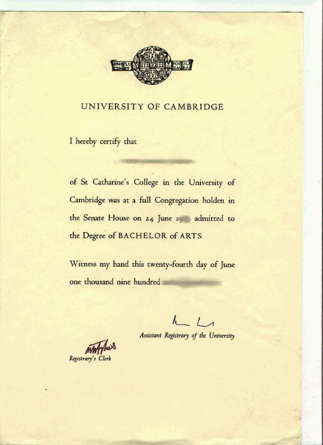 what does the degree certificate look like (for BAs) - The Student Room