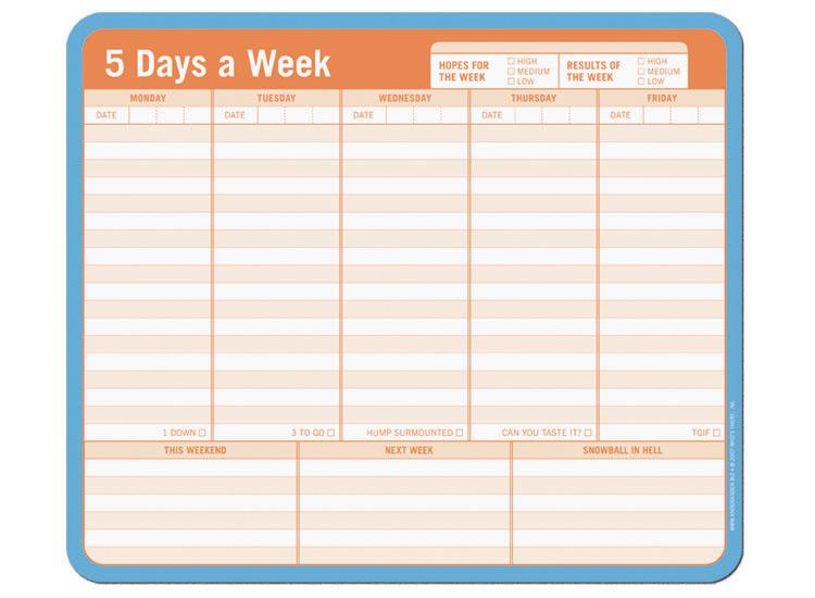 7 day work week calendar  Projectlibre