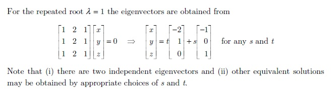 how to find eigenvectors for same eigenvalues
