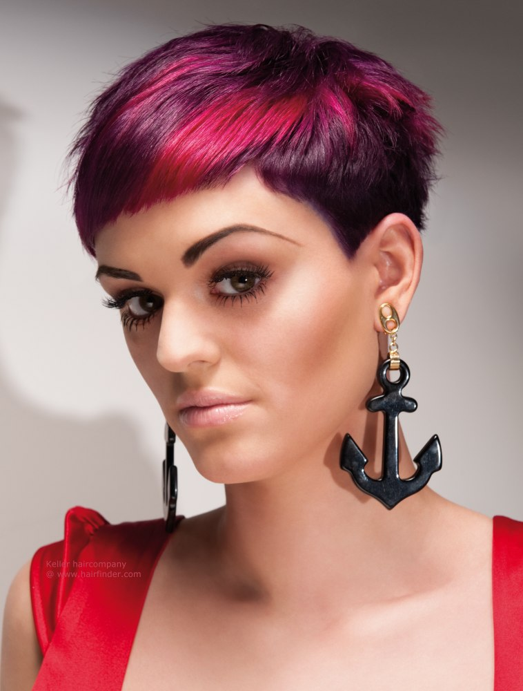 HD wallpapers short hairstyles dyed red