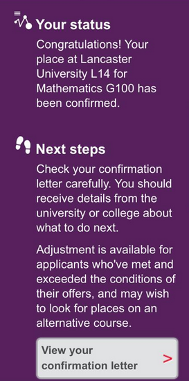 No Confirmation Letter On UCAS Have Unconditional Offer