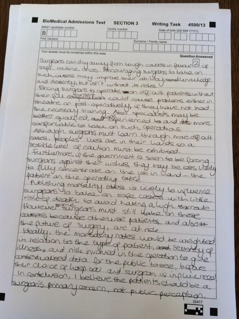 Bmat essay help
