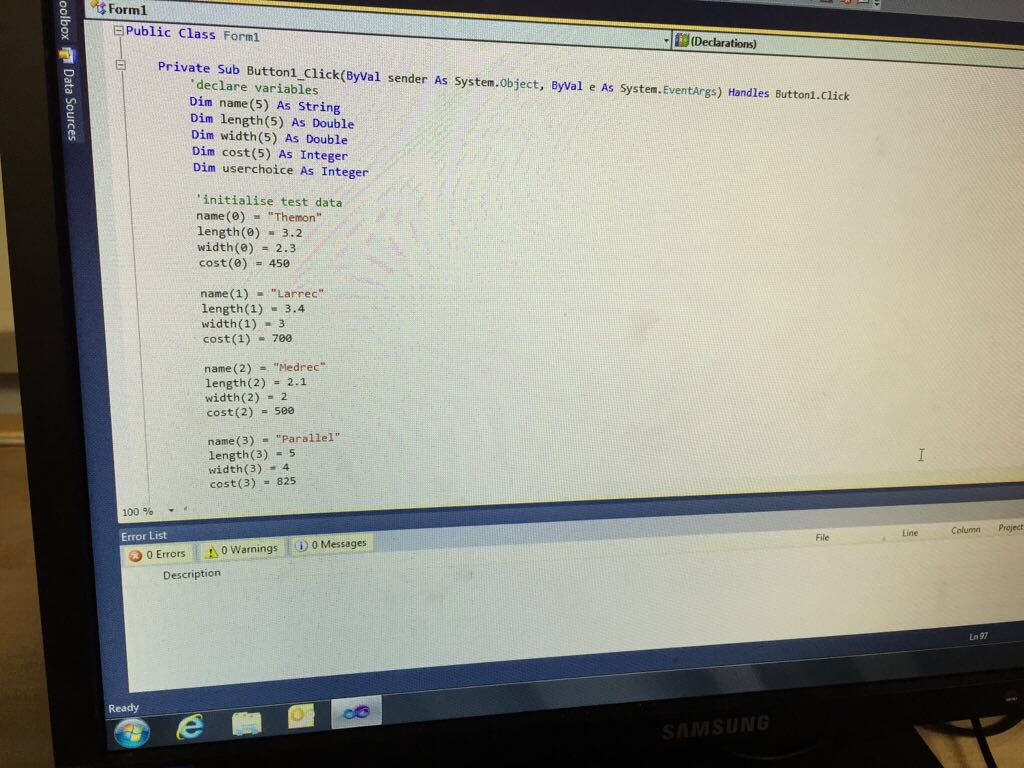 higher computing programming coursework