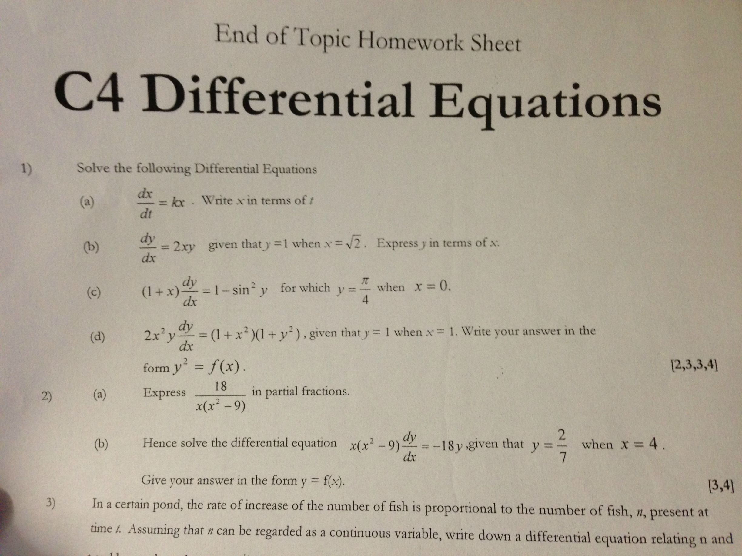 C4 Differential Equations The Student Room – Differential Equations Worksheet