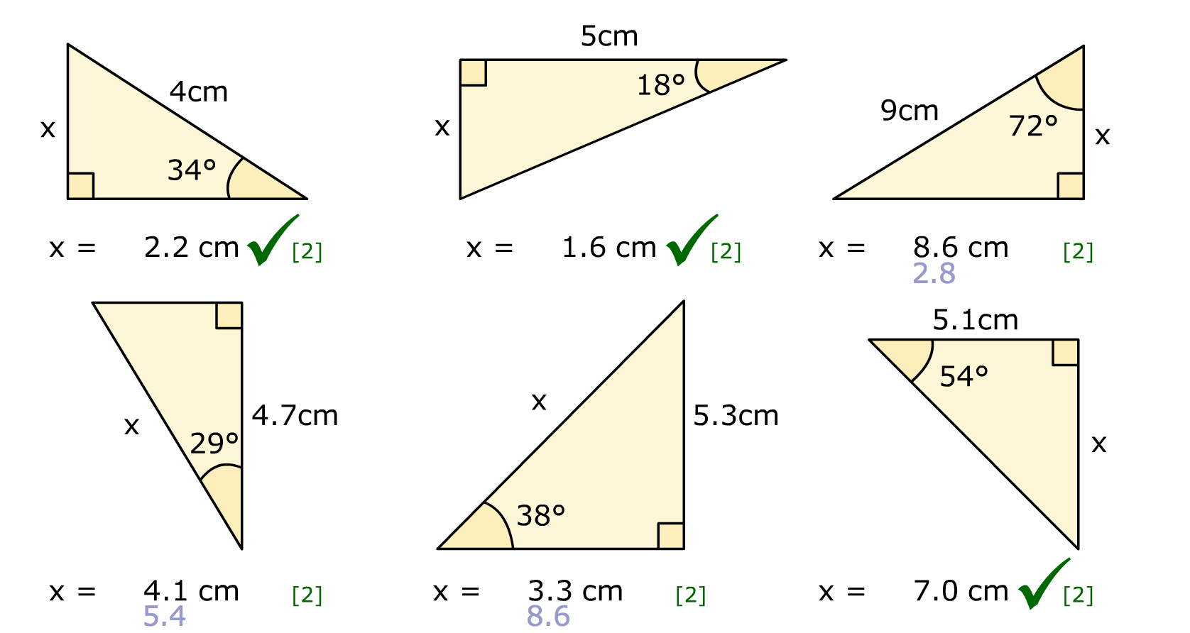 how to work out angles when you haven 2 sides