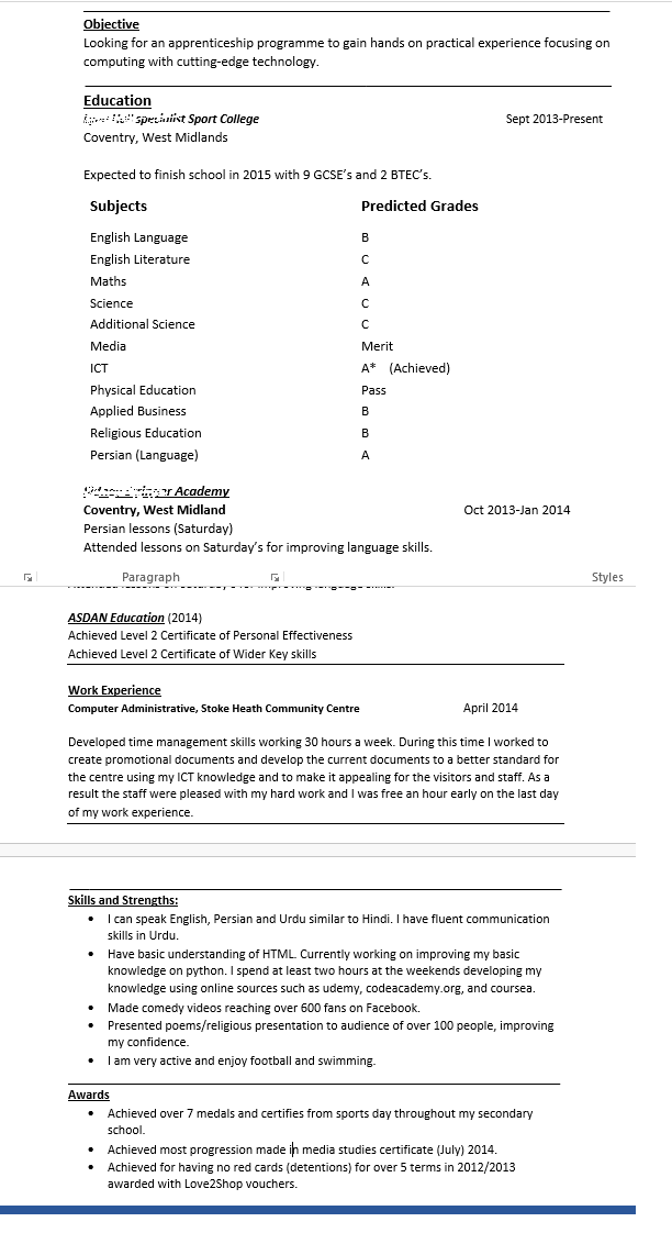 Help me with my CV please!?