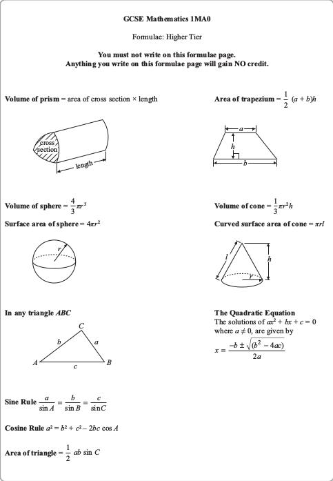 Edexcel GCSE Mathematics A Higher Tier 1MA0/1H - 6th November 2015