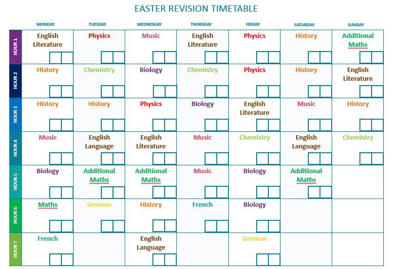 Gcse Easter Revision Timetables  The Student Room