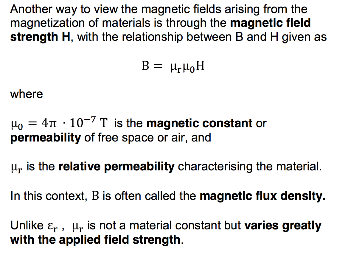 Difference between magnetic field strength and flux density