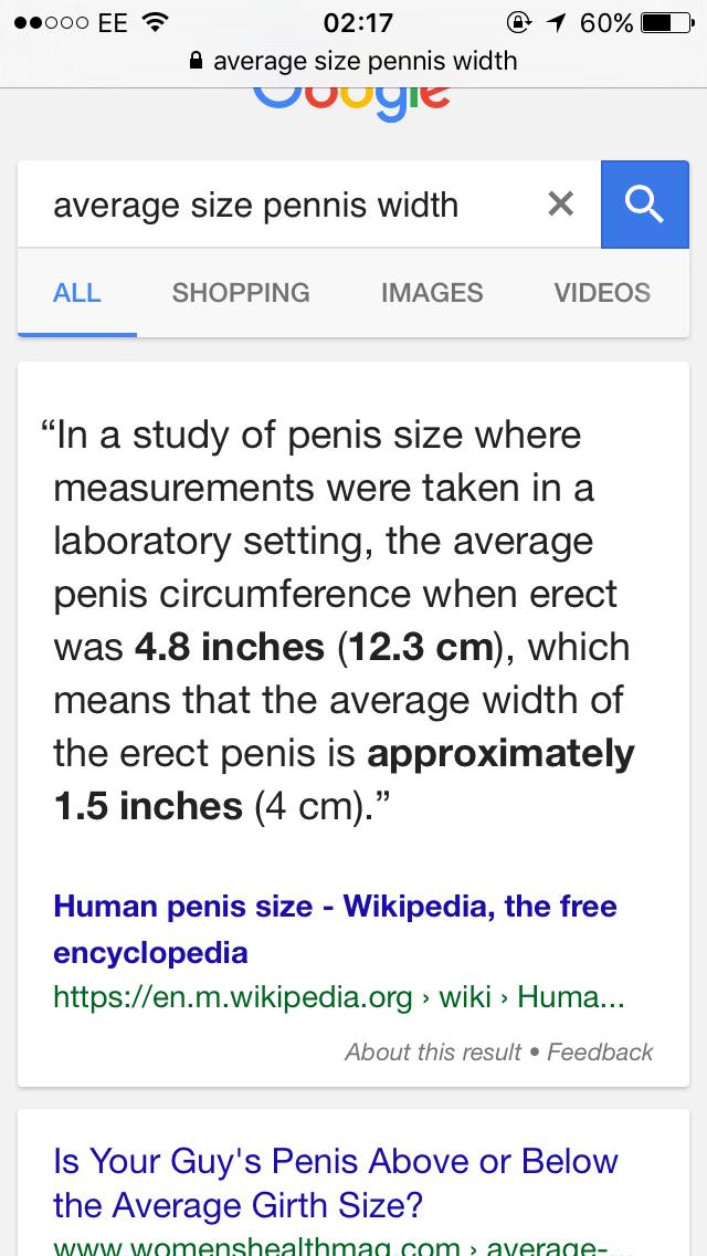 width of a penis