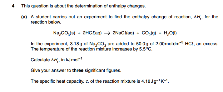 Calculation on enthalpy change of neutralisation - The Student Room