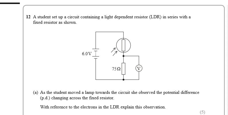 Simple circuit question involving an LDR and a fixed resistor - I ...