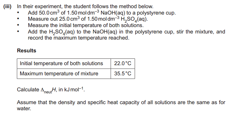 enthalpy change of neutralisation calculations