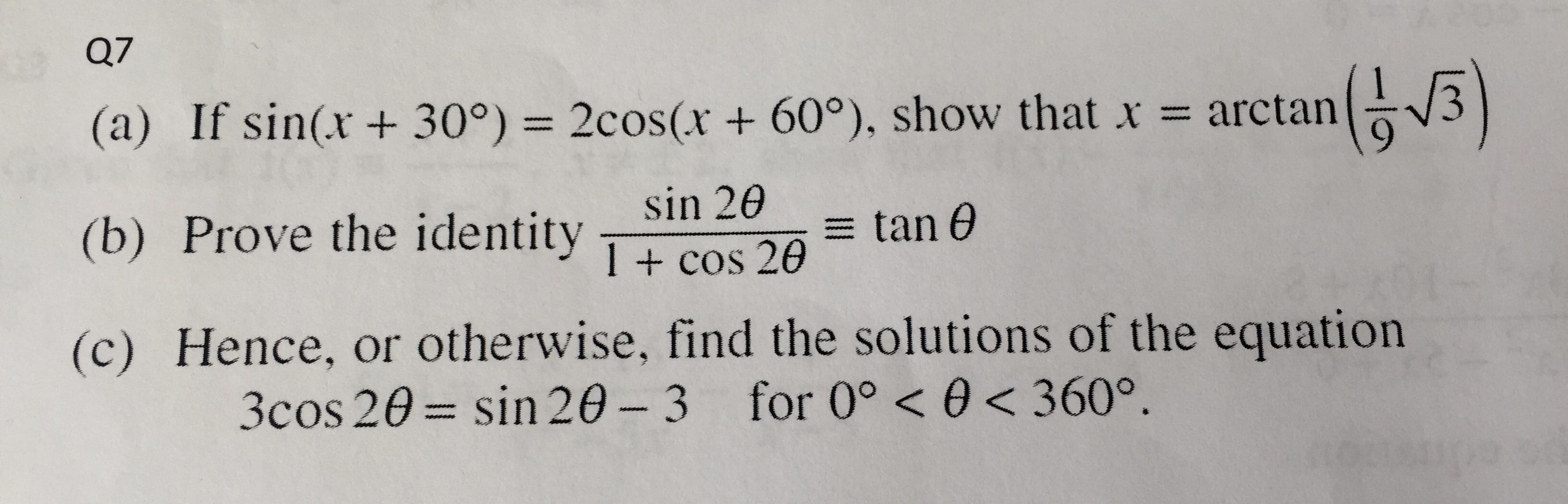 Help with this question? Solving trigonometric equations
