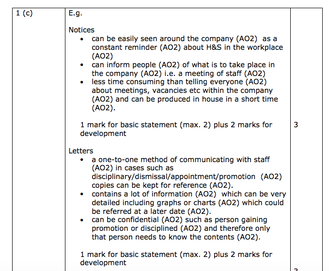Edexcel IGCSE Business Studies mark scheme help - The