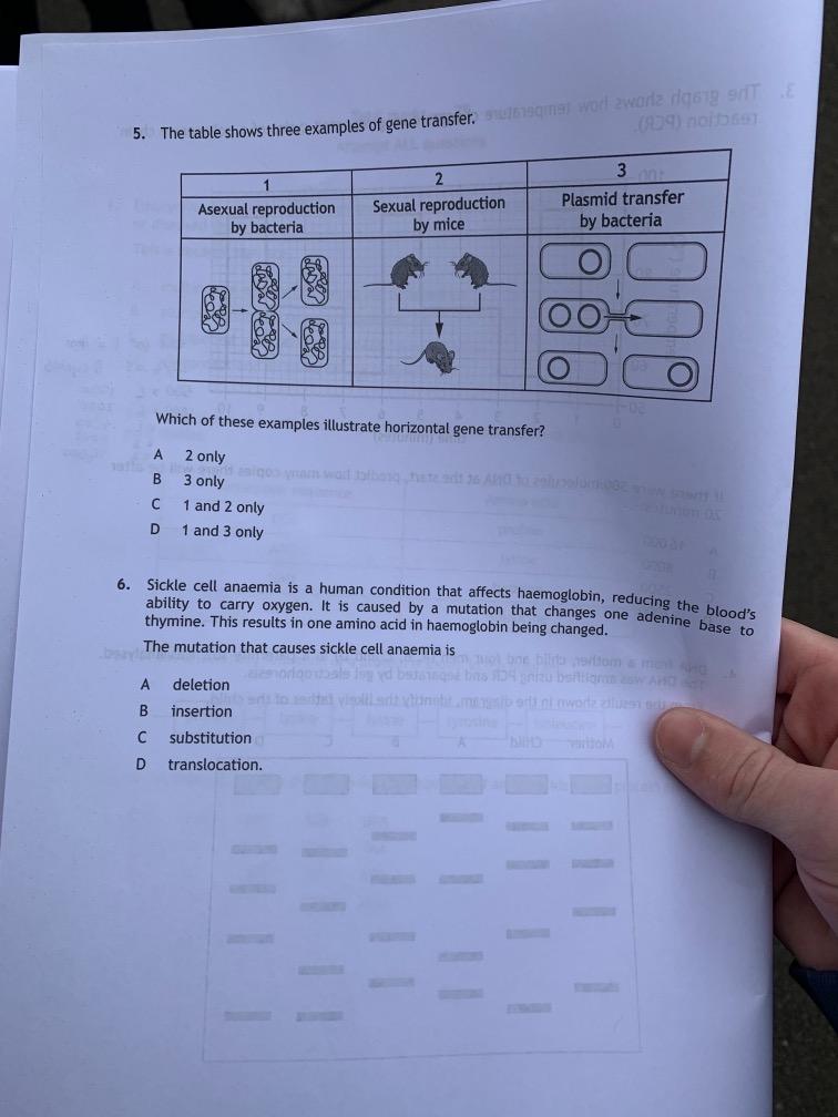 SQA Higher Biology 2019 - Unofficial Marking Scheme - The