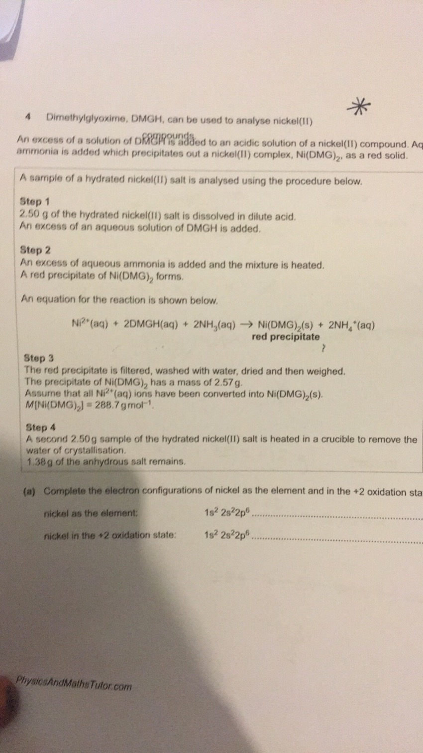Chemistry A level OCR A past paper question HELP!!! - The
