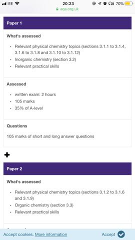 AQA A-level Chemistry 7405 - Paper 1 (Inorganic & Physical Chem