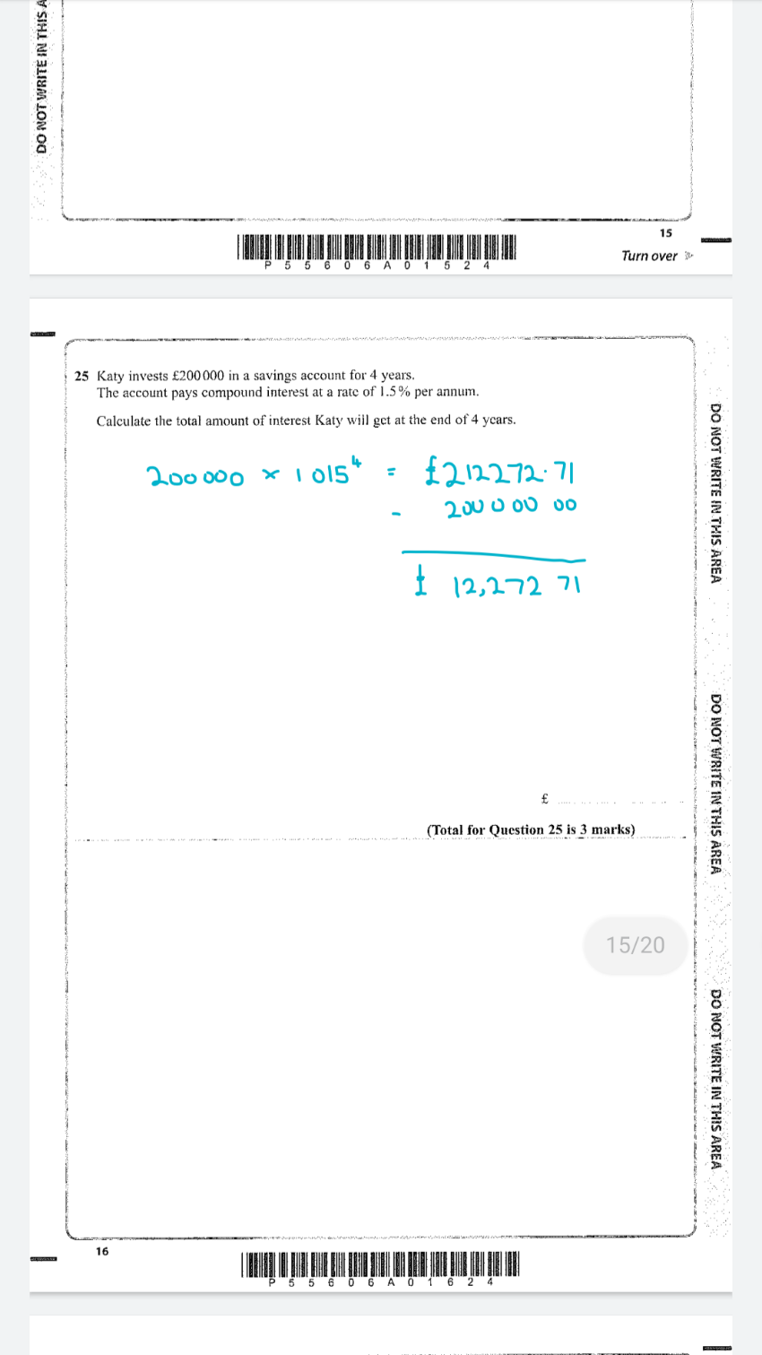 Edexcel GCSE Maths Paper 3 Foundation 11th June 2019 [Exam