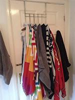 Towels hanging on back of door