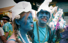 Students dressed as smurfs