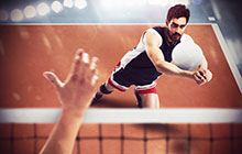 Student playing volleyball