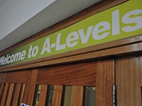 A sign at college that reads 'Welcome to A-levels'