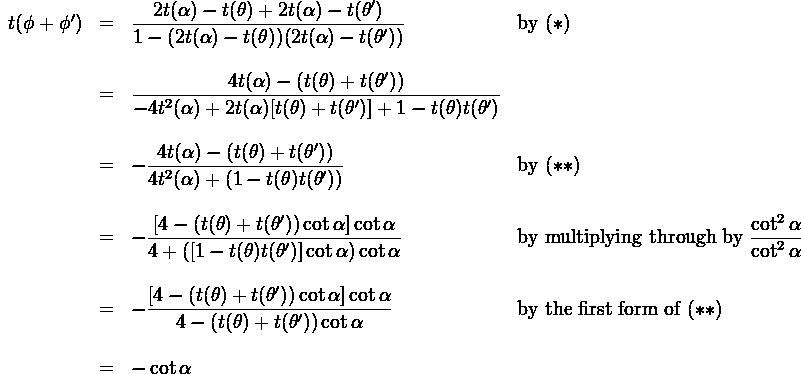 \begin{array}{lcll}  t(\phi + \phi ') &=& \dfrac{2t(\alpha) - t(\theta) + 2t(\alpha) - t(\theta')}{1-(2t(\alpha) - t(\theta))(2t(\alpha) - t(\theta'))} & \text{by} \ (*) \\  \\  &=& \dfrac{4t(\alpha)- (t(\theta) + t(\theta'))}{-4t^2(\alpha) + 2t(\alpha)[t(\theta) + t(\theta')]+1 - t(\theta)t(\theta')}\\  \\  &=& -\dfrac{4t(\alpha) - (t(\theta) +t(\theta'))}{4t^2(\alpha) +(1-t(\theta)t(\theta'))} & \text{by} \ (**) \\  \\  &=& -\dfrac{[4-(t(\theta)+t(\theta'))\cot \alpha]\cot \alpha}{4+([1-t(\theta)t(\theta')]\cot \alpha) \cot \alpha} & \text{by multiplying through by} \ \dfrac{\cot ^2 \alpha}{\cot^2 \alpha} \\  \\  &=& -\dfrac{ [4-(t(\theta)+t(\theta'))\cot \alpha]\cot \alpha}{4-(t(\theta)+t(\theta'))\cot \alpha} & \text{by the first form of} \ (**)\\  \\  &=&-\cot \alpha  \end{array}