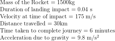 Mass of the Rocket = 1500kg