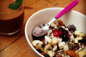 Fuel your revision with porridge topped with nuts, seeds and berries
