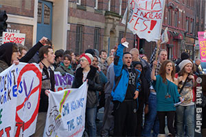 Students protest against rising tuition fees in 2010