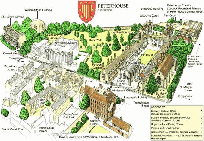 Cambridge Peterhouse map
