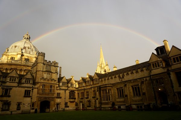rainbow over Old Quad