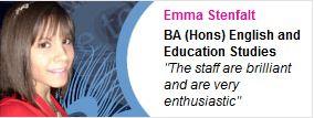 Emma Stenfalt, BA (Hons) English and Education Studies