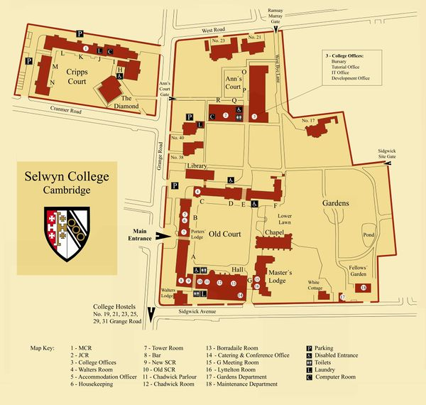 Selwyn College map