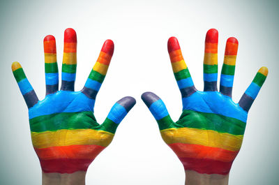LGBTFlagColouredHands