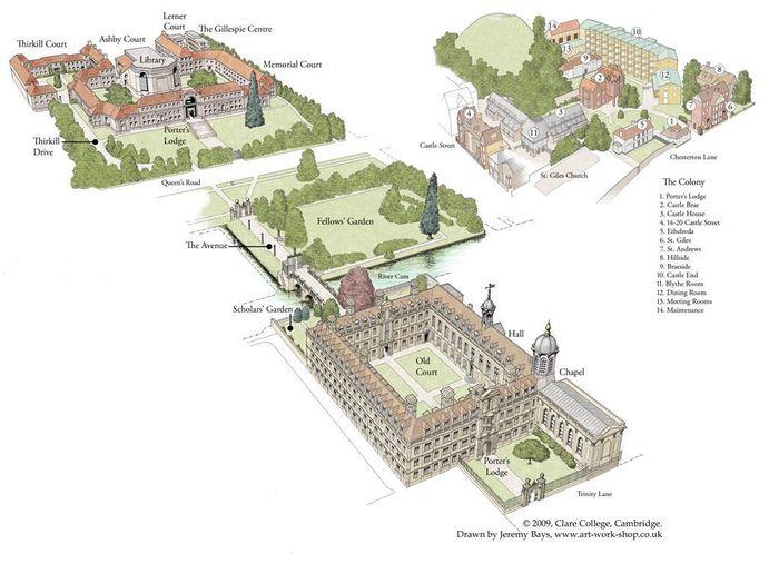 Cambridge Clare College map