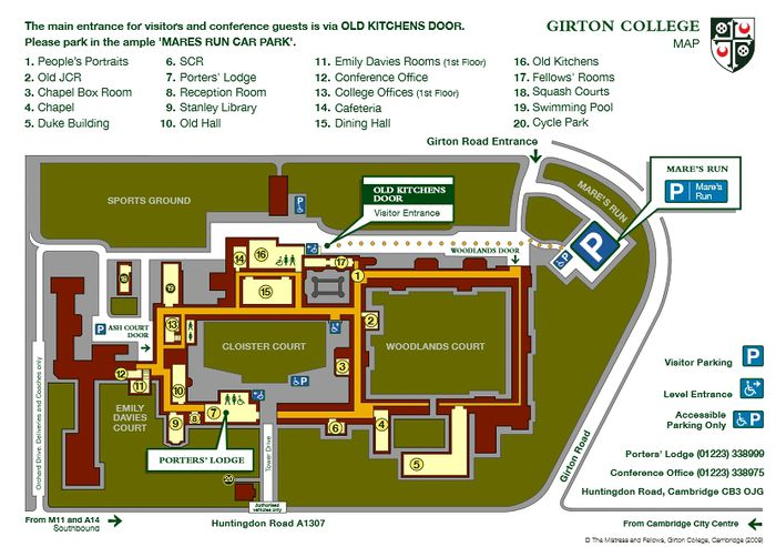 Girton College map